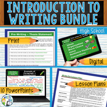 INTRODUCTION TO WRITING BUNDLE - 8 LESSONS!!!!! - High School