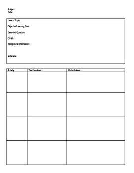 High School Lesson Plan Template Teaching Resources Teachers Pay - High school lesson plan template
