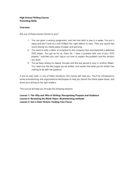 High School Level Writing Course: Pre-writing Module