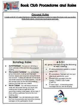 High School Literature Circles (Book Club) Packets