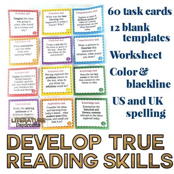 Literature activity task cards Blooms' collection