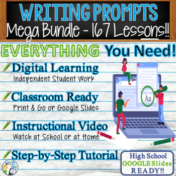 WRITING PROMPTS MEGA BUNDLE - 69 Lessons!!!! - High School