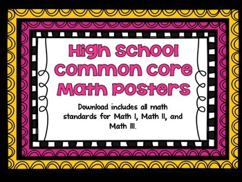 Math Common Core Posters for Math I, Math II, and Math III