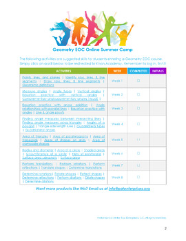 High School Math EOC Online Summer Camps