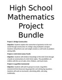 High School Math Project Bundle- Geometry, Unit Circle, Logs, and Sequences