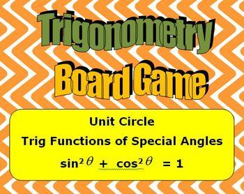 High School Math -Trigonometry Board Game - Unit Circle - Pythagorean Identity