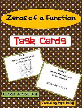 High School Math - Zeros of a Function Task Cards