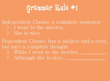High School, Middle School English Grammar Rules 1-10