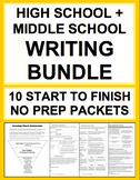 High School & Middle School Writing Bundle No Prep Checklists, Rubrics, Handouts