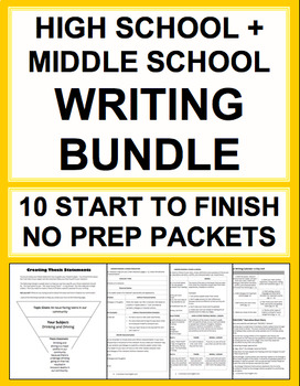 High School & Middle School Writing Bundle No Prep Checklists, Rubrics, Handouts