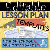High School Music Lesson Plan Templates - North Carolina