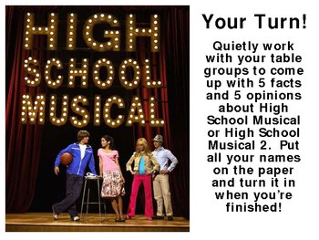 High School Musical Fact and Opinion Powerpoint