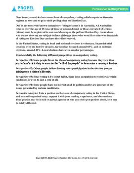High School English Persuasive Prompt - Compulsory Voting