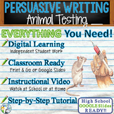 Persuasive Writing Prompt Essay Graphic Organizer, Rubric - Testing on Animals