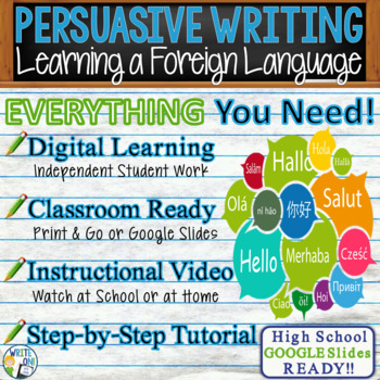 Persuasive Writing Lesson Prompt w/ Digital Resource Learning a Foreign Language