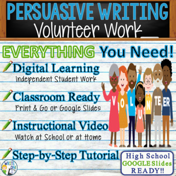 Persuasive Writing Lesson / Prompt - with Digital Resource – Volunteer Work
