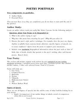 High School Poetry Portfolio Assignment with Rubric