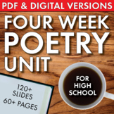 High School Poetry Unit, 4 Weeks, Analysis + Fun Supplements, PDF & Google Drive