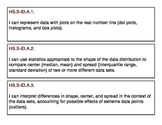 """High School Probability and Statistics Concept  """"I Can"""" Statement Strips"""