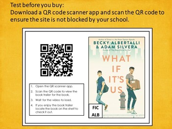High School QR Code Signs Book Trailers Set #1