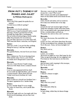 """High School Reading Comprehension: Fiction - """"Romeo and Juliet, Act 1, Scene 4"""""""