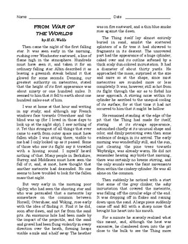 """High School Reading Comprehension: Fiction - excerpt from """"War of the Worlds"""""""