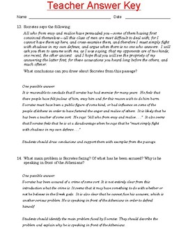 """High School Reading Comprehension: Informational Text - Plato's """"The Apology"""""""
