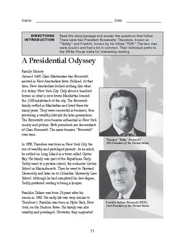 High School Reading Comprehension: Informational Text - Presidents Roosevelt