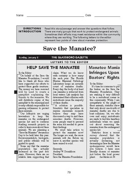 High School Reading Comprehension: Informational Text - Save the Manatee?