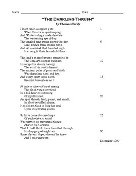 """High School Reading Comprehension: Poetry - """"Darkling Thrush"""" by Thomas Hardy"""