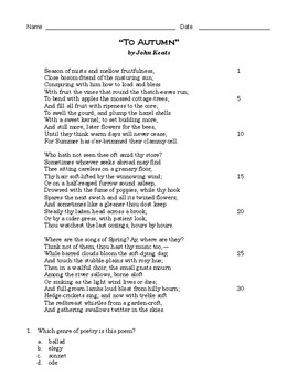 "High School Reading Comprehension: Poetry - ""To Autumn"" by John Keats"