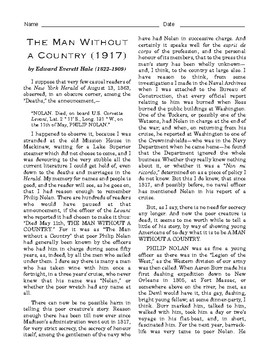 """High School Reading Comprehension: """"The Man without a Country"""""""