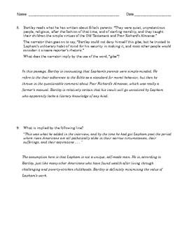 "High School Reading Comprehension: William Dean Howells' ""Rise of Silas Lapham"""