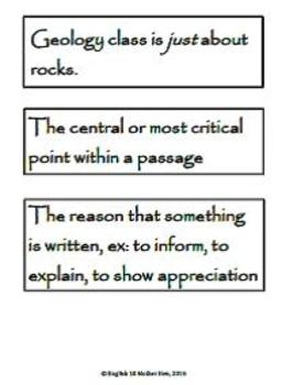 High School Reading Terms: Scavenger Hunt or Matching Game (w/ KEY!)