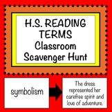 High School Reading Terms: Scavenger Hunt or Matching Game