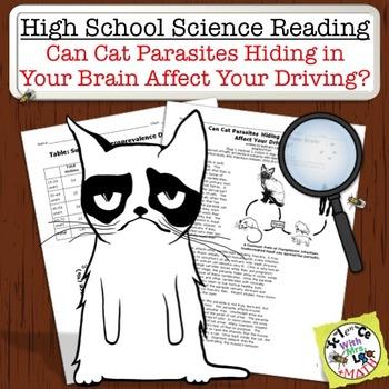 High School Science Reading: Cat Brain Parasites Cause Bad Driving? - Sub Plan