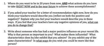 High School Reflective Writing Prompts & Rubrics