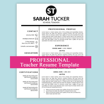 New Teacher Resume Teaching Teacher CV MS Word Education Resume