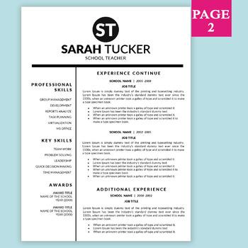 New Teacher Resume, Teaching, Teacher CV MS Word, Education Resume Template