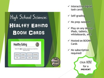 High School Science Healthy Eating BOOM Cards