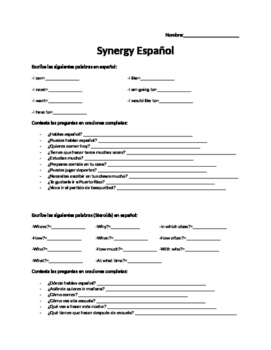 High School Spanish Sub Work