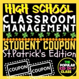 "High School St.Patrick's Day Lucky ""Perks"" Gift Reward Coupons"