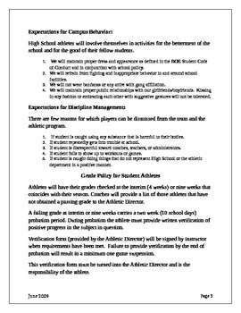 High School Student Athlete Program Policy