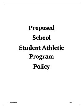High School Student Athlete Program Policy