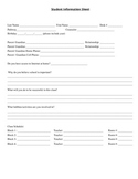 High School Student Information Sheet
