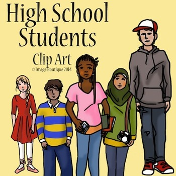 High School Teenager Students  Clip Art