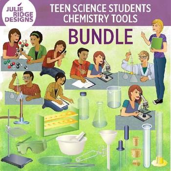 High School Students Doing Science Activities & Chemistry Clip Art Bundle