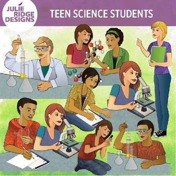 Teens Doing Science Activities Clip Art