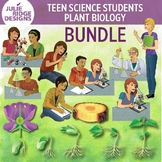 High School Students Doing Science Activities & Plant Biology Clip Art Bundle