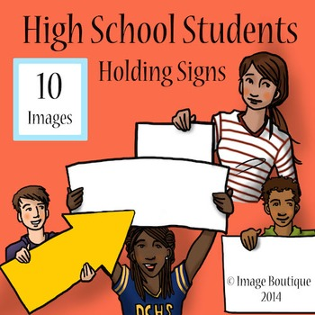 High School Students with Signs Clip Art